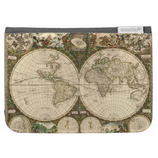 Antique 1660 World Map by Frederick de Wit Kindle Keyboard Cases