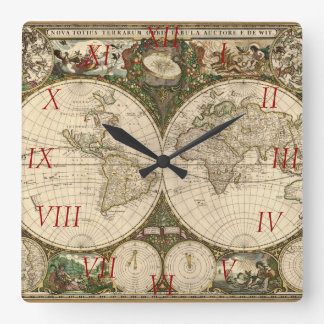 Antique 1660 World Map by Frederick de Wit Square Wall Clocks