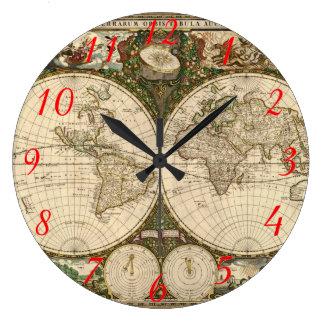 Antique 1660 World Map by Frederick de Wit Round Wallclock