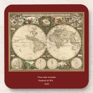Antique 1660 World Map by Frederick de Wit Coaster