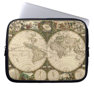 Antique 1660 World Map by Frederick de Wit Computer Sleeve