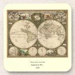 Antique 1660 World Map by Frederick de Wit Beverage Coaster