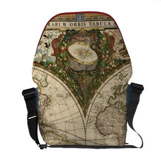 Antique 1660 World Map by Frederick de Wit Courier Bag