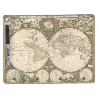 Antique 1660 World Map by Frederick de Wit Dry Erase Whiteboards