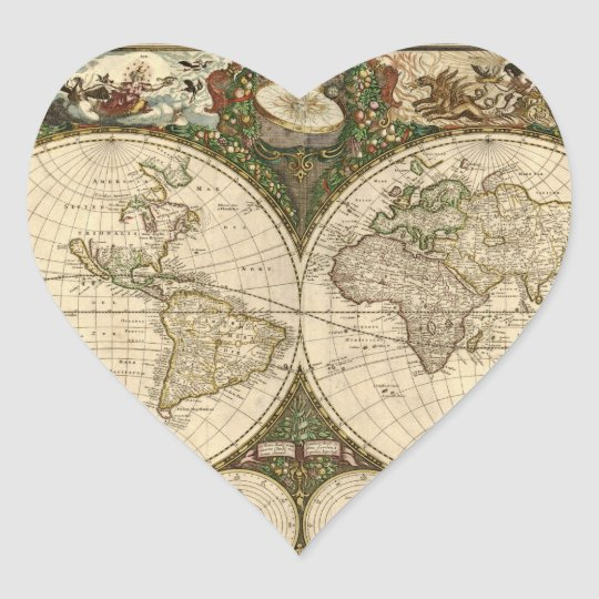 Antique 1660 World Map by Frederick de Wit Heart Sticker