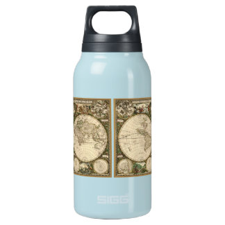 Antique 1660 World Map by Frederick de Wit Insulated Water Bottle