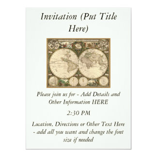 Antique 1660 World Map by Frederick de Wit 6.5x8.75 Paper Invitation Card