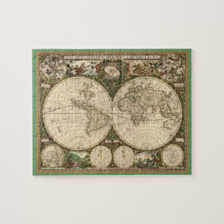 Antique 1660 World Map by Frederick de Wit Jigsaw Puzzle