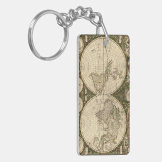 Antique 1660 World Map by Frederick de Wit Acrylic Keychain