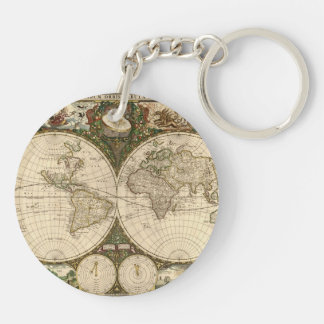 Antique 1660 World Map by Frederick de Wit Keychain