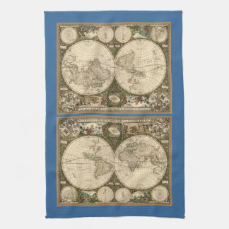 Antique 1660 World Map by Frederick de Wit Kitchen Towel