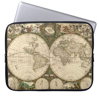 Antique 1660 World Map by Frederick de Wit Laptop Sleeve