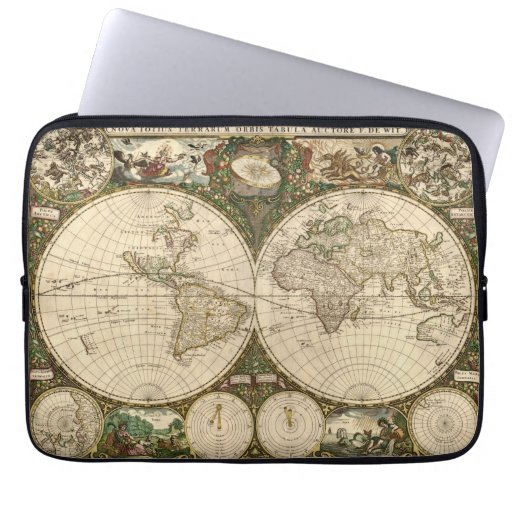 Antique 1660 World Map by Frederick de Wit Laptop Computer Sleeves