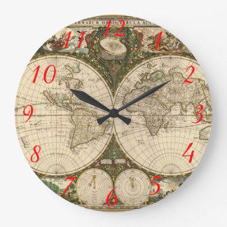Antique 1660 World Map by Frederick de Wit Large Clock