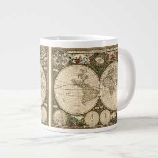 Antique 1660 World Map by Frederick de Wit Large Coffee Mug