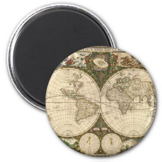 Antique 1660 World Map by Frederick de Wit 2 Inch Round Magnet