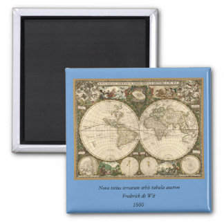 Antique 1660 World Map by Frederick de Wit 2 Inch Square Magnet