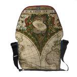 Antique 1660 World Map by Frederick de Wit Messenger Bag