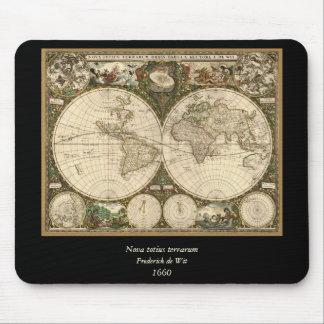 Antique 1660 World Map by Frederick de Wit Mouse Pad