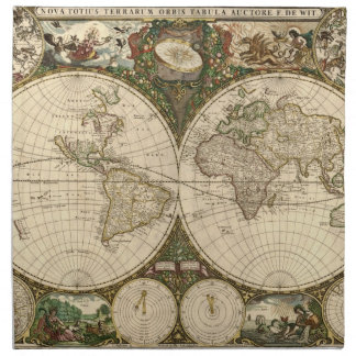 Antique 1660 World Map by Frederick de Wit Napkin