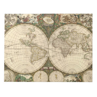 Antique 1660 World Map by Frederick de Wit Note Pad