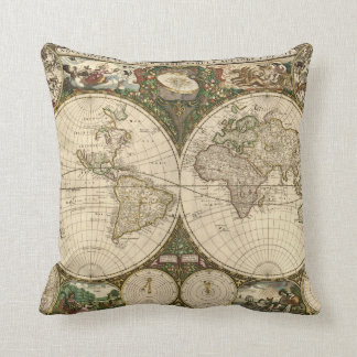 Antique 1660 World Map by Frederick de Wit Throw Pillows