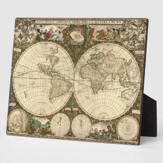 Antique 1660 World Map by Frederick de Wit Photo Plaques