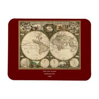 Antique 1660 World Map by Frederick de Wit Rectangular Photo Magnet