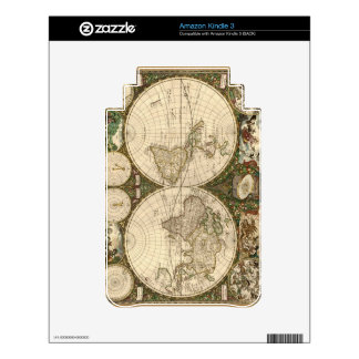 Antique 1660 World Map by Frederick de Wit Kindle Skin