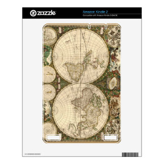 Antique 1660 World Map by Frederick de Wit Kindle Decal