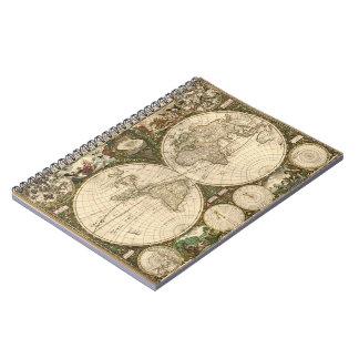 Antique 1660 World Map by Frederick de Wit Spiral Notebook