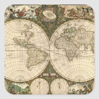 Antique 1660 World Map by Frederick de Wit Square Sticker
