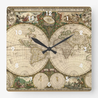 Antique 1660 World Map by Frederick de Wit Square Wall Clock