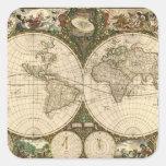 Antique 1660 World Map by Frederick de Wit Square Sticker