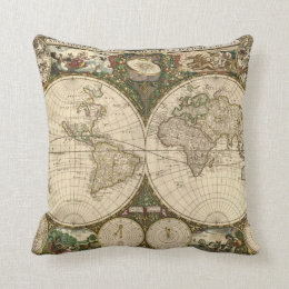 Antique 1660 World Map by Frederick de Wit Throw Pillow
