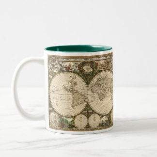 Antique 1660 World Map by Frederick de Wit Two-Tone Coffee Mug