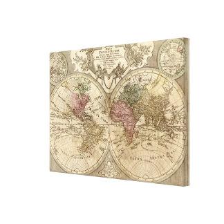 Antique 1690 World Map by Guillaume de L'Isle Canvas Print