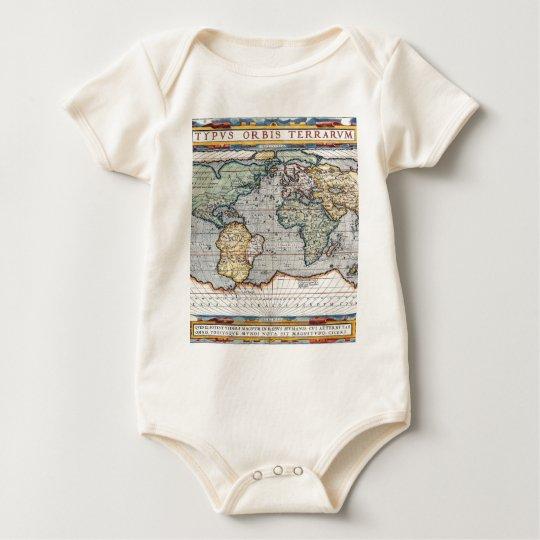 Antique 16th Century World Map Baby Bodysuit