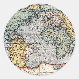 Antique 16th Century World Map Classic Round Sticker