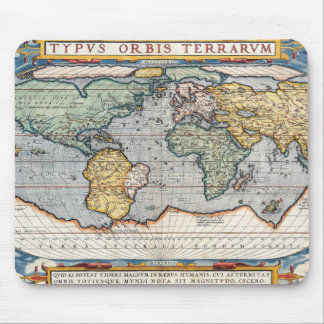 Antique 16th Century World Map Mouse Pad