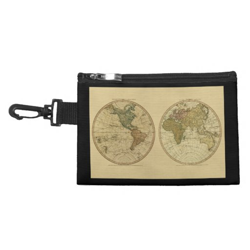 Antique 1786 World Map by William Faden Accessory Bags