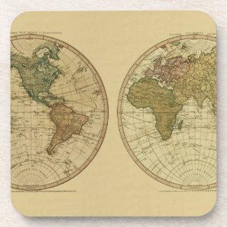 Antique 1786 World Map by William Faden Beverage Coaster