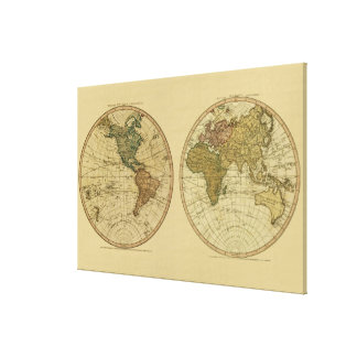 Antique 1786 World Map by William Faden Canvas Print