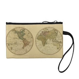 Antique 1786 World Map by William Faden Change Purse