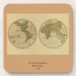 Antique 1786 World Map by William Faden Coaster