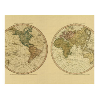Antique 1786 World Map by William Faden Flyer