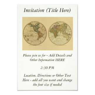 Antique 1786 World Map by William Faden 3.5x5 Paper Invitation Card