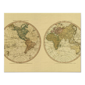 Antique 1786 World Map by William Faden 4.25x5.5 Paper Invitation Card