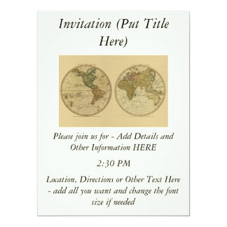Antique 1786 World Map by William Faden 6.5x8.75 Paper Invitation Card