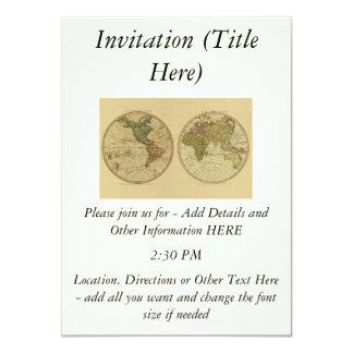 Antique 1786 World Map by William Faden 4.5x6.25 Paper Invitation Card